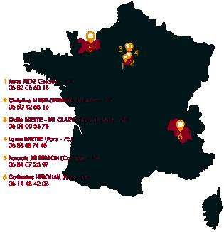 carte de france des membres des ateliers collectifs d'orientation