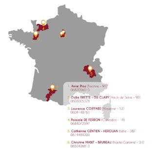 carte de france des membres des ateliers collectifs d'orientation